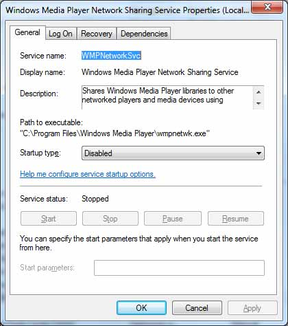 Windows Media Player Network Sharing Service