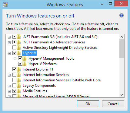 Install Hyper-V Windows Features